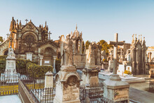 Poblenou Cemetery With Angels And Cross In Barcelona