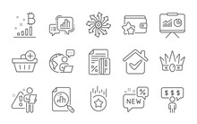 Analytics Graph, New And Presentation Line Icons Set. Bitcoin Graph, Versatile And Crown Signs. Loyalty Program, Credit Card And Employee Benefits Symbols. Loyalty Star, Add Purchase. Vector