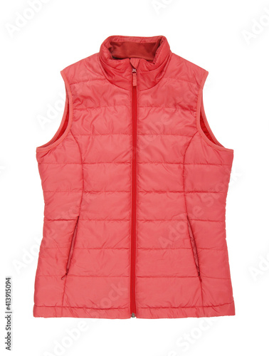Slika na platnu warm red waistcoat is on white background, isolated pink unisex sleeveless jacke