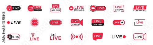 Slika na platnu Live streaming icon set