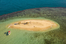 Aerial View Of A Small Boat On Cayo Arena Paradise Island In Monte Cristi State, Dominican Republic.