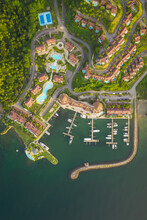 Aerial View Of The Bannister Harbour And The Yacht Club Near A Luxury Resort On A Beautiful Paradise Island, Dominican Republic.