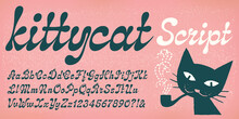 Kittycat Script Is A Modern Vintage Or Futuristic Script Style Of Type With Bulbous Or Teardrop Shaped Stroke Terminals.