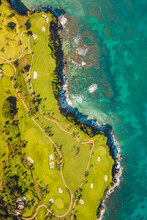 Aerial View Of A Luxury Resort And Golf Course Facing The Ocean With Waves Crashing On The Beach, María Trinidad Sánchez, Dominican Republic.