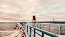 Lake Michigan Lighthouse. Charlevoix Winter Lighthouse Scene. Travel Graphic.