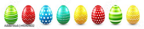 Obraz Colorful Easter eggs isolated on white background. Seasonal spring decoration element. Egg hunt game. Vector illustration. - fototapety do salonu