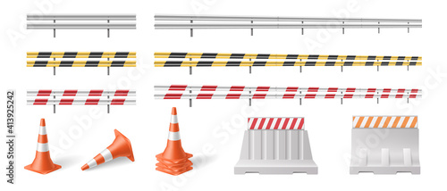 Obraz na plátně Set of road barriers and traffic blocks, protective fences for roadsigns and hig