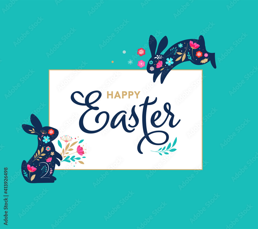 Fototapeta Happy Easter, decorated easter card, banner. Bunnies, Easter eggs, flowers and basket. Folk style patterned design.