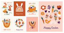 Boho Easter Concept Design, Greeting Cards With Bunnies, Eggs, Flowers And Rainbows In Pastel And Terracotta Colors, Flat Vector Illustrations