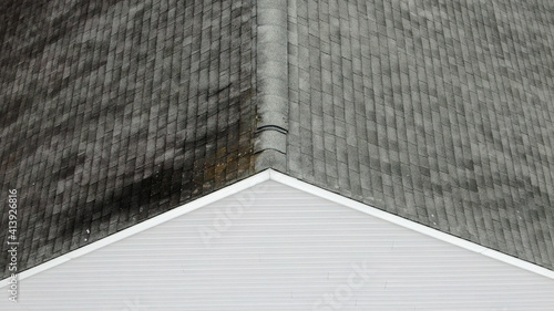 Fotografia, Obraz Aerial Residential Roof and Chimney Inspection by Drone Including Damage Detail