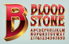 Bloodstone Is A Vintage Style Alphabet With Historical Or Goth Overtones. Good For Wizardry, Swordplay, Knights, Medieval Sorcery Themes, Game Logos, Etc.