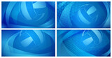 Set of four volleyball backgrounds with big ball in blue colors