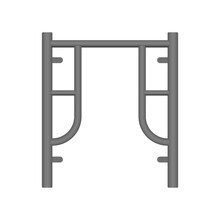 Main Frame Or H-frame Vector Icon. Walk Through Type. Accessory Part Of Scaffolding Ringlock System. Safety Equipment Use To Built Stage And Temporary Work Area With High Building In Construction Site