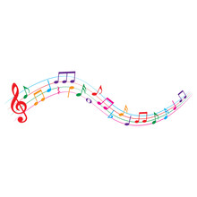 Colorful Music Notes, Isolated On White Background, Vector Illustration.