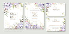 Set Of Floral Wedding Invitation Card, Save The Date, Thank You, Rsvp Template. Vector. Hydrangea Flower With Greenery.