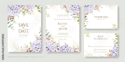 Set of floral wedding Invitation card, save the date, thank you, rsvp template Fototapet
