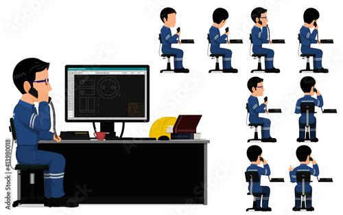 Fototapeta set of industrial worker is using telephone obraz