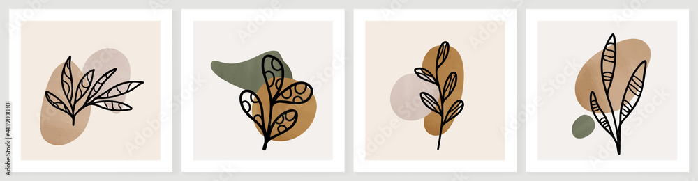 Fototapeta Botanical abstract art backgrounds vector. Summer square banner.  Foliage line art drawing with abstract shape. Works for wall framed prints, social media post, poster, home decor, cover, wallpaper.