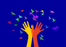 Hands And Birds In Color. Hands Meet A Flock Of Birds.