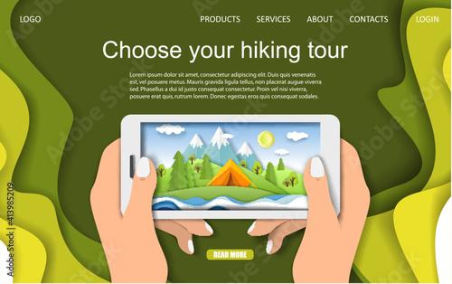 Foto Hiking tour landing page design, website banner, mobile template