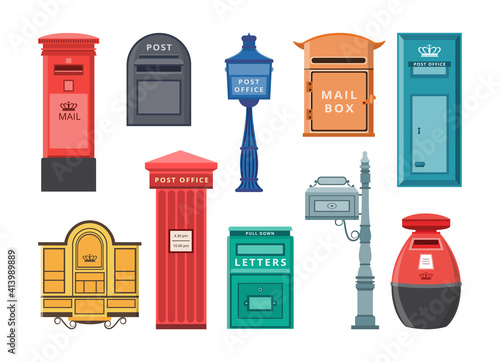 Fototapeta Set of modern and old style mail boxes, flat vector illustration isolated