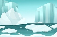 Illustration Of A Winter Arctic Landscape In Cartoon Style.