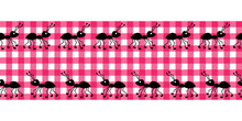 .Picnic Seamless Pattern. Cute Ants On A Pink Checkered Background. Vector Designer Ribbon. Cartoon Style..