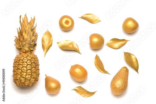 Fotografie, Obraz Beautiful golden composition on white background