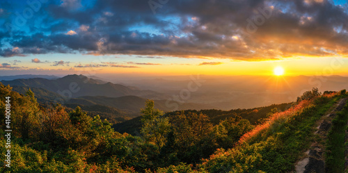 Fototapety, obrazy: Tropical forest nature landscape sunset view with mountain range at Doi Inthanon, Chiang Mai Thailand panorama