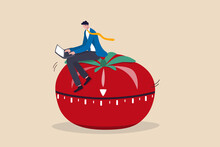 Pomodoro Technique To Increase Work Productivity, Set Timer To Focus Work And Break Or Rest Concept, Smart Businessman Focus On Working With Laptop Computer Sitting On Pomodoro Tomato Timer Stopwatch.