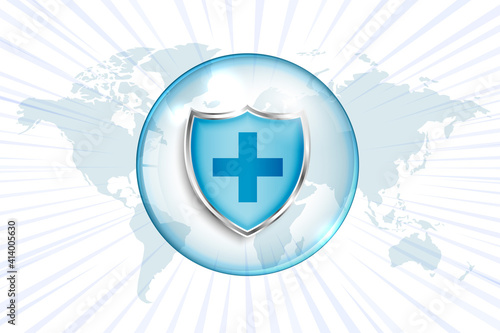 Fotografia, Obraz medical protection shield with cross sign and world map