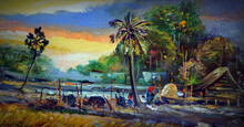 Art Painting Oil Color Sky Northeast Thailand Countryside