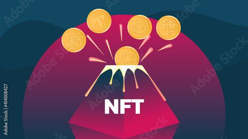Photo Vector illustration banner volcano erupts in nft coins