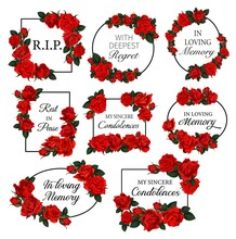 Funereal Frames With Red Roses Flowers. Obituary Vector Round And Square Frames With RIP Res In Peace, In Loving Memory Condolences And Engraved Flowers. Funeral Cards Decorated Floral Borders