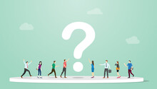 Searching Or Search For Answers Concept With People And Question Mark Around With Modern Flat Style