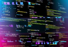 Abstract Background With Glitched Program Code Parts. Vector Black Monitor Screen With Distortion And Glitch Effect, Computer Error Or Bug. Backdrop With Programming Language And Random Glowing Pixels