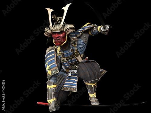 Murais de parede Software rendering Japanese armor samurai