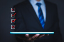 Checklist Concept, Businessman Checking Mark On The Check Boxes With Marker Red, Copy Space