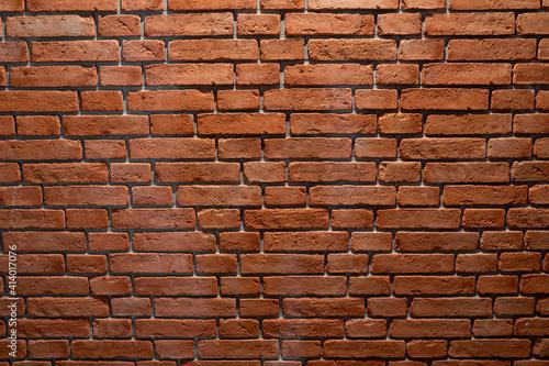 Fototapeta ceglana ściana, z czerwonej palonej starej rustykalnej cegły obraz