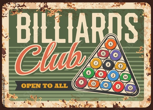 Billiards pool snooker club, metal plate rusty or vector retro poster with balls in triangle on table Poster Mural XXL