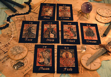 Witch Table With Tarot Cards And Magic Ritual Objects.