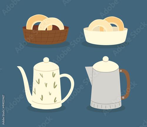 coffeeshop teapot donuts breakfast icon set Fotobehang