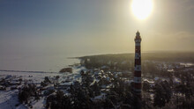 Lighthouse On The Shore Of The Gulf Of Finland, In Winter.