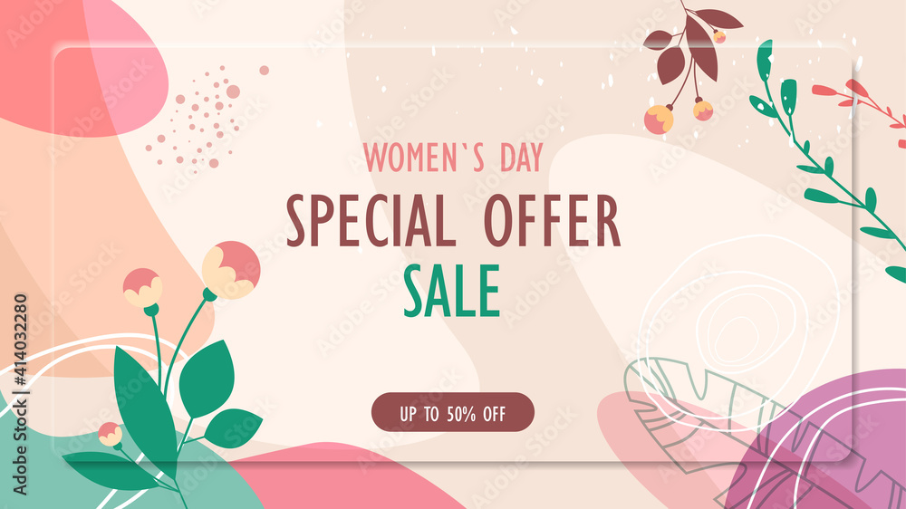 Fototapeta womens day 8 march holiday celebration vibrant sale banner flyer or greeting card with decorative leaves and hand drawn textures horizontal vector illustration