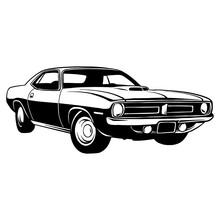 Classic Sport Car, Muscle Car, Vintage Car, Stencil, Silhouette, Vector Clip Art For Tshirt And Emblem
