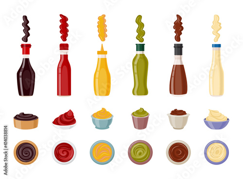 Food sauce and dip set - bottle and serving cup for ketchup and others Fototapeta