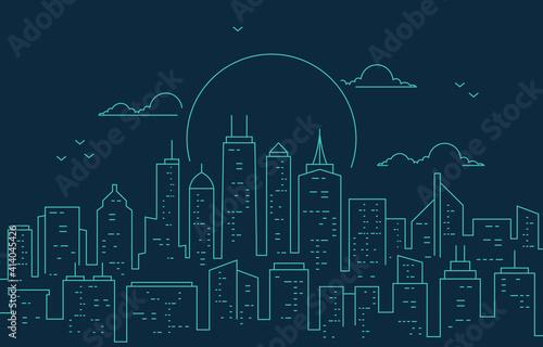 Night Urban City Building Cityscape Landscape Line Illustration Fototapeta