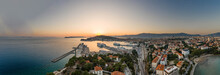Aerial Panoramic Drone Shot Of Ferry Port From Railway East City Of Split In Croatia Summer