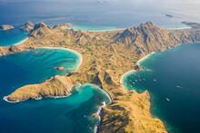 Aerial View Of Padar Island Landscape With Blue Ocean Water, East Nusa Tenggara, Indonesia.