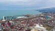 Aerial hyperlapse of International Marine Station pier in Batumi city. Black Sea touristic dock, harbor and bay.